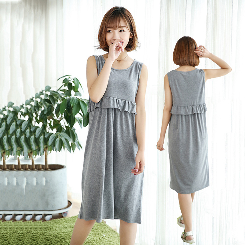Summer Casual Breastfeeding Dress for Maternity Solid Color Sleeveless Dress Pregnant Women Nursing Dress Breastfeeding Clothing solid color skinny backless sexy scoop neck summer dress for women