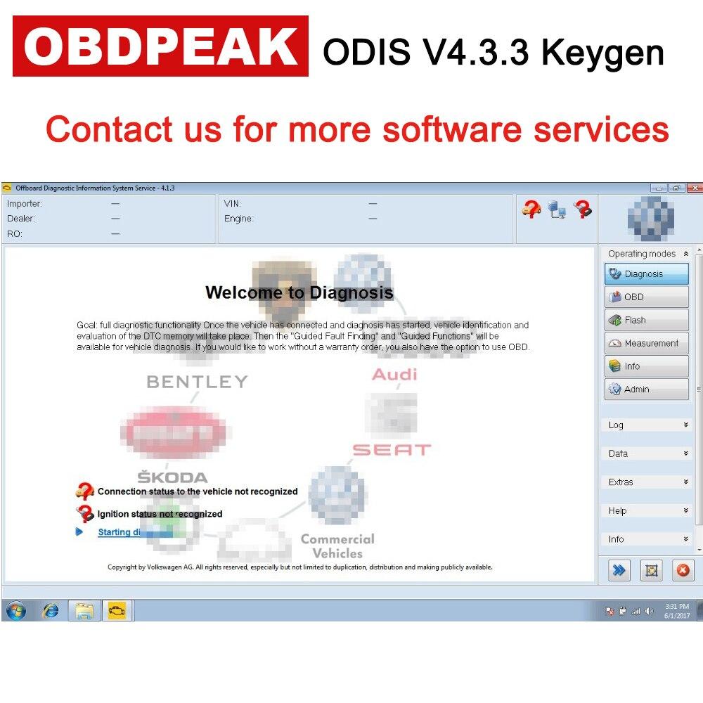 Date ODIS V4.3.3 Avec Keygen Livraison Licence Activé Pour VAG Tous 9 Marques À 2017 ODIS 4.3.3 Pour VAS 5054A voiture Outil De Diagnostic