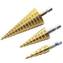 """3pc Hss étape cône cône foret ensemble trou Cutter métrique 4 12/20/32mm 1/4 """"titane enduit métal hexagone Bits"""