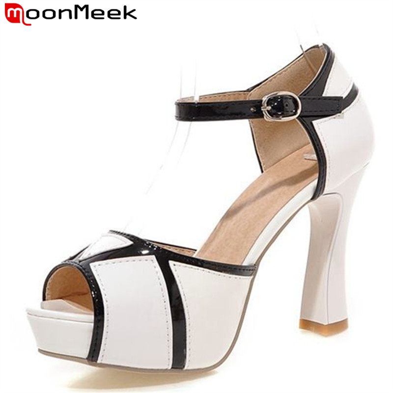 MoonMeek new arrival ankle strap women sandals peep toe platform high heels party wedding shoes woman sexy summer shoes brand new women platform sandals t strap rivets high heels wedding shoes woman peep toe gladiator women luxury big size shoes