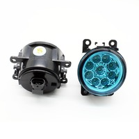 2pcs Car Styling Round Front Bumper LED Fog Lights DRL Daytime Running Driving Blue Lens For