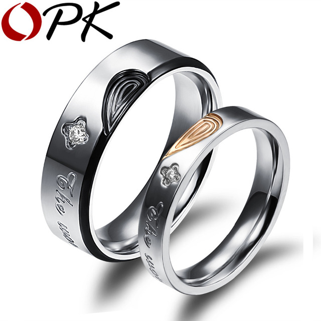 Opk His Hers Promise Wedding Rings Clical Black Gold Color Half Heart Puzzle Full