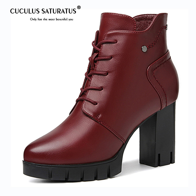 Cuculus Brand Designers 2019 New Spring Autumn Leather Women Shoes Black High Heels Boots Lacing Platform