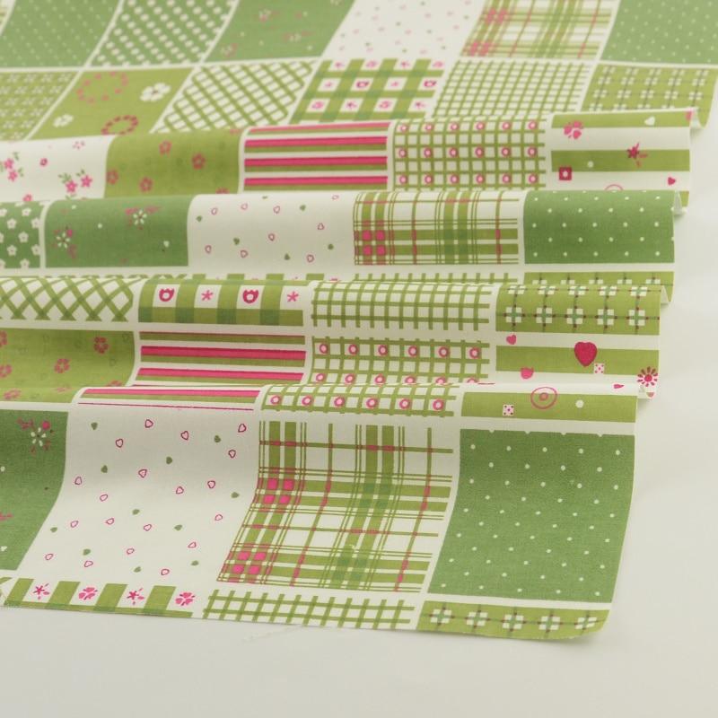 Envío libre 50 cm x 160 cm/piece impreso verde Plaid designs costura ...