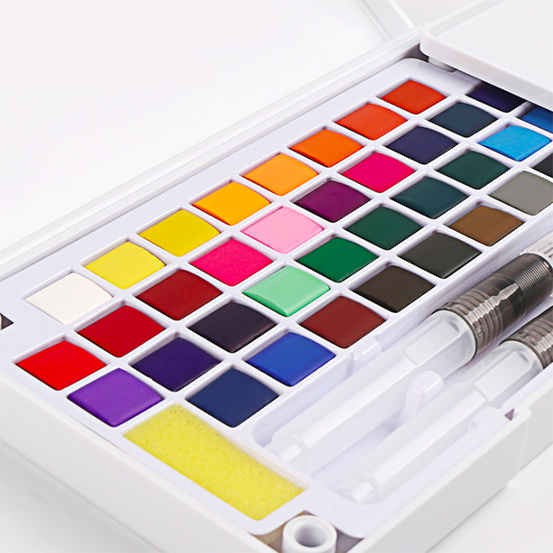 Superior Watercolor Paint Set Box With Water Brush Bright Color Portable Solid Paint Watercolor Pigment For Art Supplies