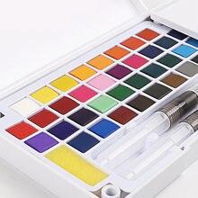Pigmento contínuo portátil da aguarela da pintura para fontes da arte caixa ajustada da pintura da aguarela superior com escova de água