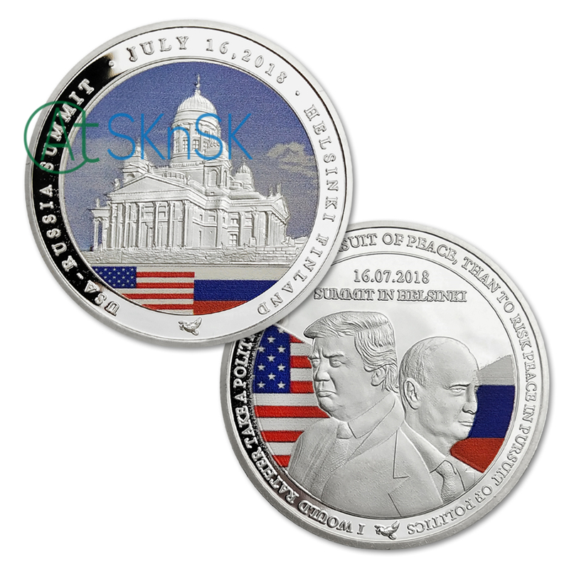 US $5 22 36% OFF|New Silver Coin United States and Russia president  challenge coin gift Trump and Putin Summit presidential commemorative coins  -in