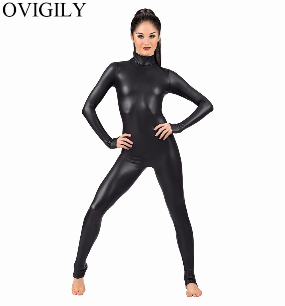 OVIGILY Women Spandex Metallic Unitard Catsuit Adults Shiny Lycra Long Sleeve Unitards Bodysuits Skin Black Tight Female Costume