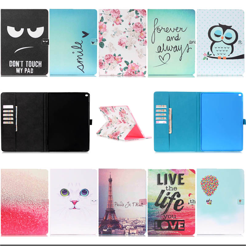 все цены на For Apple iPad Pro 12.9 Cover Case painting Wallet PU Leather Protect Fundas cover for ipad pro Tablet Accessories Y3D25D онлайн