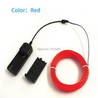 For Billboard Decorative Flexible 5Meters 3 2mm EL Cable Rope Red Bright Neon Led Strip Powered