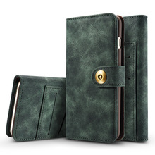 for iPhone 7 Case Luxury Detachable Vintage Magnetic Leather Flip Silicone Case for iPhone 6 6S 7 Plus Wallet Case Cover Coque