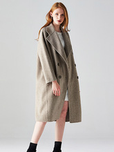 High Quality 2019 New Fashion Woolen Coat Woman Double Sided Cashmere Jacket Loose Herringbone Pattern Long Double Sided Coats