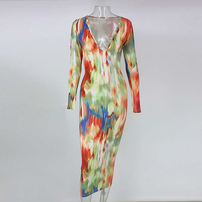 Long Sleeve Midi Print Bodycon Dress