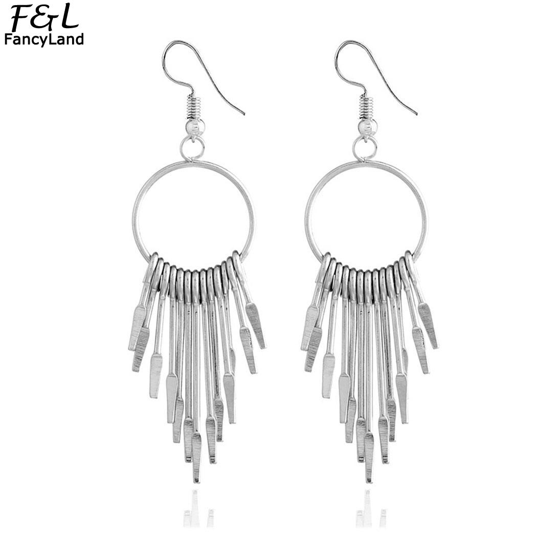 Party Drop Round Gold Wedding Trendy of Earrings Party for Hook Dangle Tassel Women Ring Pair Evening Silver Bar