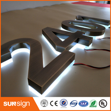 4inch height brushed stainless steel backlit house number