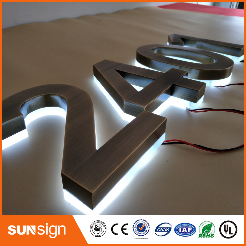H25cm One Letter Height Brushed Stainless Steel Backlit House Number