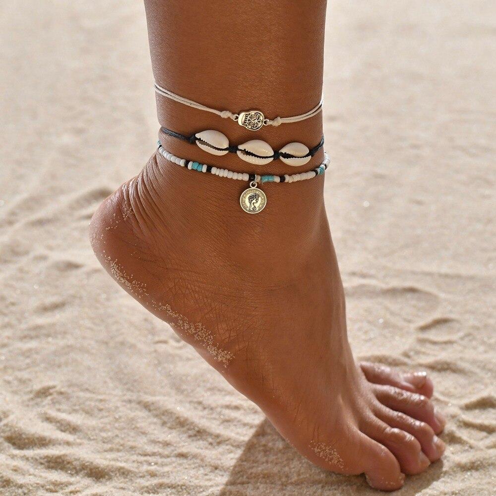 Huitan Sea Shell Pendant Anklets Classic Boho Summer Holiday Seashell Shaped Foot Bracelets For Women Beach Accessories Drop