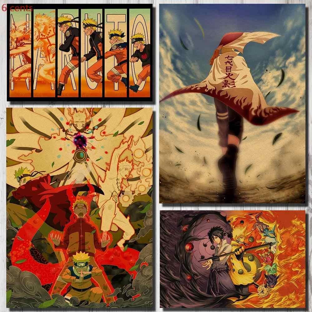 Naruto anime poster decorative stickers kraft paper poster wall stickers retro wall stickers painting wall stickers retro poster