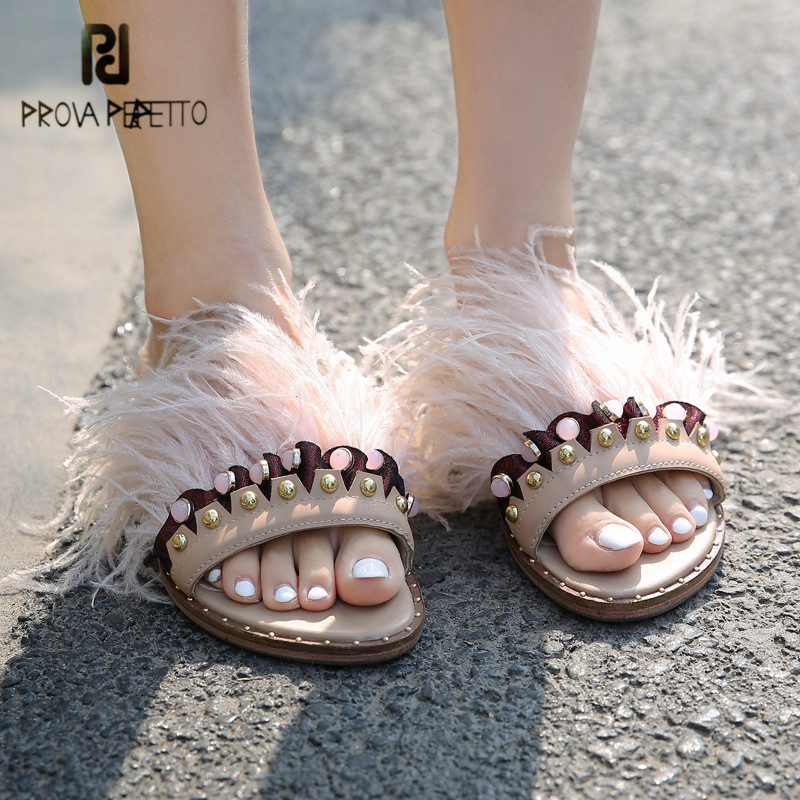 Prova Perfetto New Hot Genuine Leather Women Fur Slippers Rhinestone Feather Decor Fashion Outside Slides Flat Shoes Woman