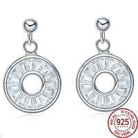 Top Fashion High Quanlity 925 Sterling Silver Round Pave Zircon Stud Earring With Channel Setting Finish