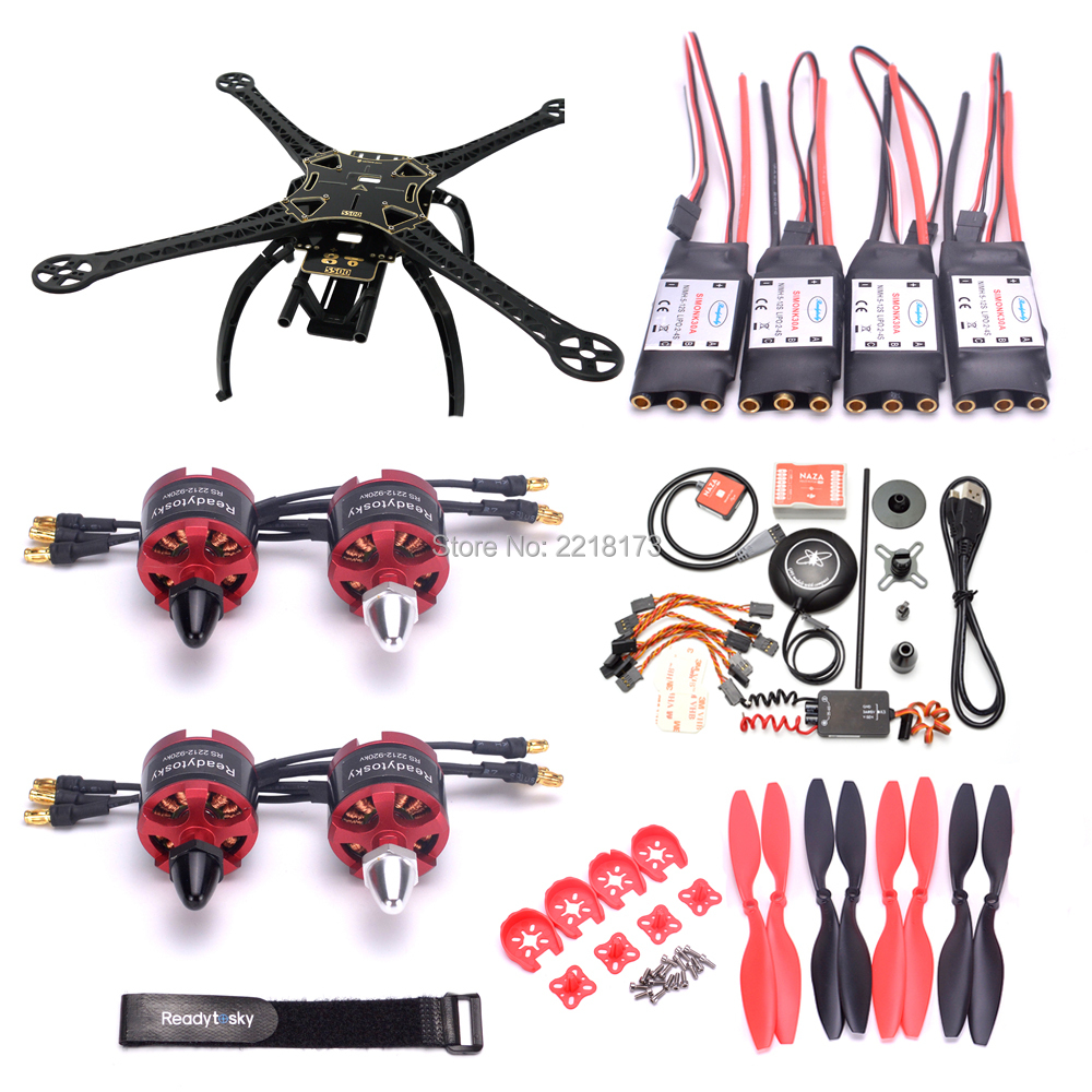S500 500mm PCB Frame Kit w/ Plastic or Carbon Fiber Landing Gear Naza M Lite Flight controller 2212 920kv motor 30A simonk ESC f450 450mm pcb version quadcopter rack frame kit naza m lite flight controller board