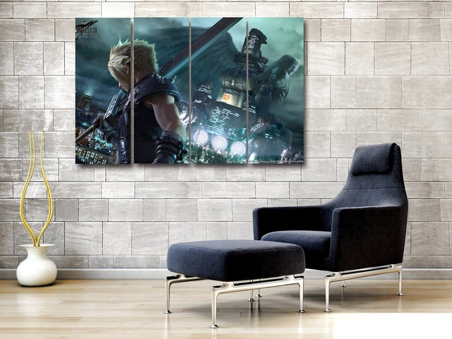 Us 19 9 Canvas Modular Poster Painting 4 Pieces Final Fantasy 7 For Living Room Wall Modern Art Home Decor Pictures In Painting Calligraphy From