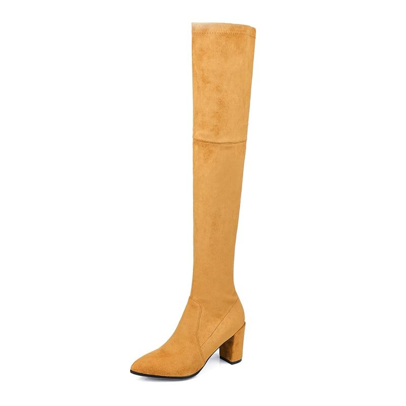 Kcenid Zipper Delgado Suede Tacones apricot Negro Azul Zapatos La Sobre Muslo azul Nuevo Invierno Largo Otoño Rodilla Moda Boots Botas Side Mujer Altos rWcwqgr7Y