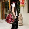 Bordado étnico bolsas grandes de lona de algodão mulheres de grande projeto fêmea literária