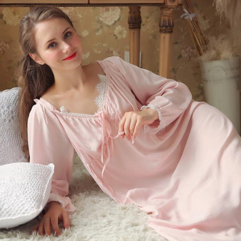 ccedd755a5 Nightgown Long Pink Sleepwear Nightdress Gentlewoman Simple Style Nightgowns  Women White Dress Nightdress Fall Homewear -in Nightgowns   Sleepshirts  from ...