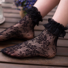Women Sexy Lace Floral Socks Summer Hot Socks Lace Ruffle Floral Soft Pleats Elastic Fishnet Short Ankle Socks недорого