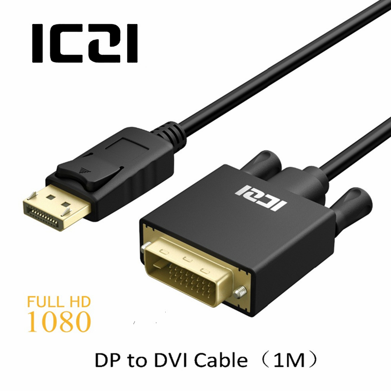 ICZI DisplayPort to DVI Cable 1M 1080P @60Hz Gold Plated Male to Male Display Port DP to ...