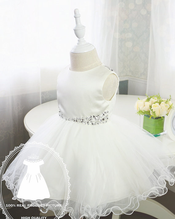 White/Ivory Flower Girl Dress Christening dress baptism gown bingbing cake dress tiered newborn princess birthday dress navy tiered design mini dress