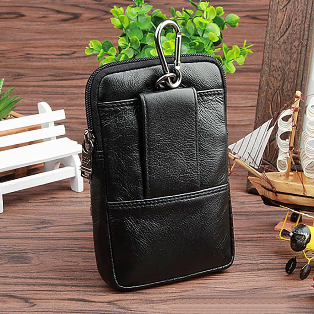 本革 5.0/5 。 5 インチウエストパックバッグ小さなコイン財布のためのメンズ本物の牛革携帯/携帯電話ケースベルトファニーバッグ