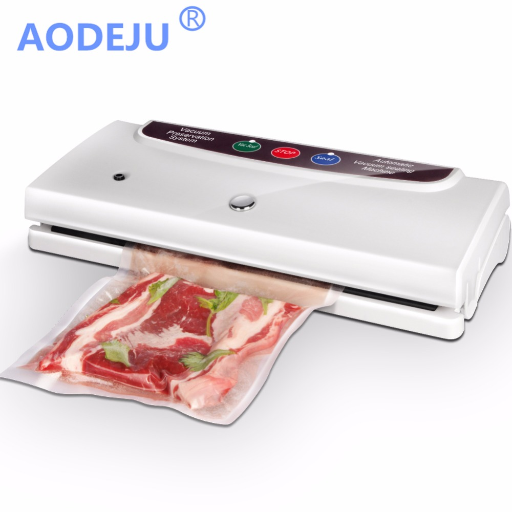 AODEJU Household Food Vacuum Sealer Packaging Machine Automatic Electric Film Food Sealer Vacuum Packer Including 10Pcs Bags shineye 220v 110v household food vacuum sealer packing machine film vacuum packer container food sealer saver include 10pcs bags