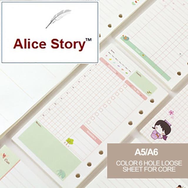 A6 A5 lindo colorido diario recambios cuaderno espiral reemplazar color core de hoja suelta-regalo de papelería de la escuela, planificador de anillo de carpeta de papel
