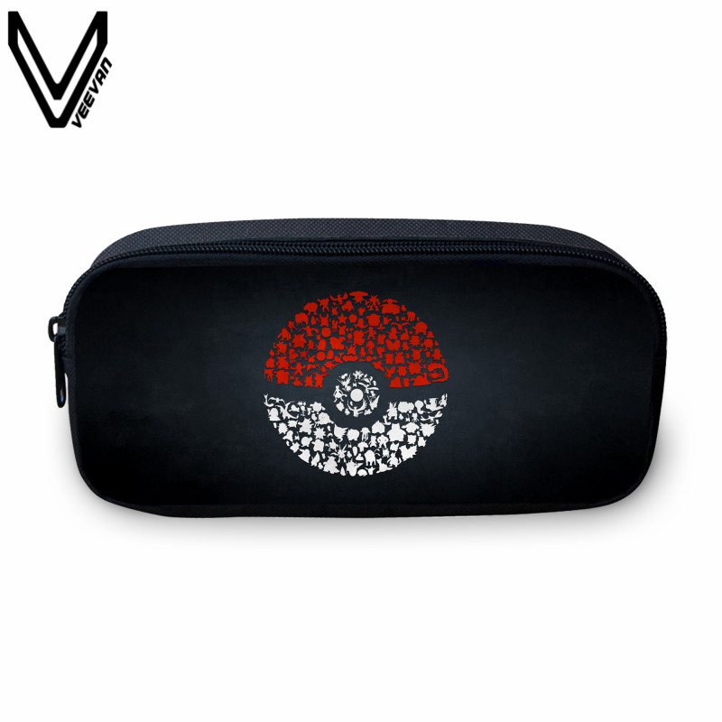 VEEVANV Cartoon Case Pokemon Pikachu Wallet Poke Cosmetic Make Up Pouch Valor Zipper Study Bag School Supplies Stationery Gift