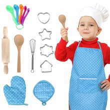16PCS Kids Baking Set Chef Set Cook Role Play Costume Chef Fancy Dress Accessories with Apron Chef Hat Utensils Cooking Mitt