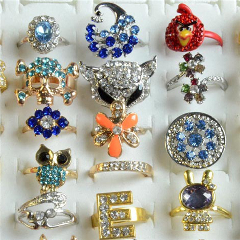 Pinksee 20 Pcs Wholesale Lots Mixed Color Rhinestone Ring for Women Girls