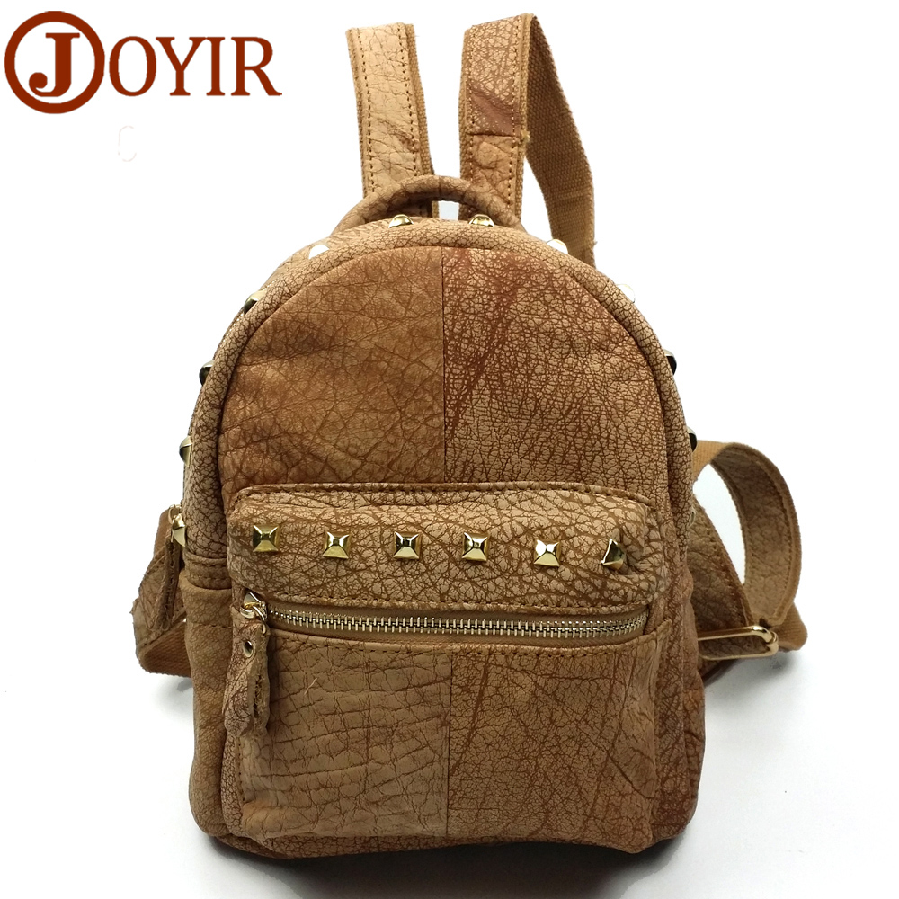 JOYIR Fashion Cowhide Genuine Leather Women's Backpacks Rivet Beige color School backpack Travel bag for female woman bags 1042 12mm waterproof soprano concert ukulele bag case backpack 23 24 26 inch ukelele beige mini guitar accessories gig pu leather