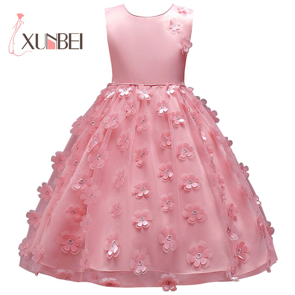 256077aec petites filles Princess Knee Length Pink Purple Flower Girl Dresses 2018  Tulle Girls Pageant Dresses First