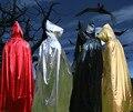Мода чародей костюм 1.2 метра хеллоуин костюм для детей мыса красный серебристый золотой черный