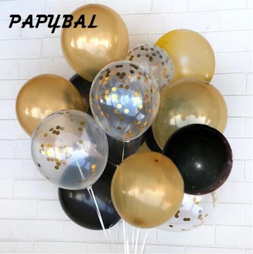 12 buc Aur negru latex balon 12 inch Confetti balon de sărbători - Produse pentru sărbători și petreceri