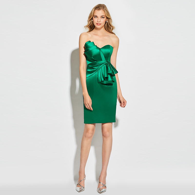 Tanpell strapless cocktail dress dark green sleeveless above knee sheath dress  women party sexy customed short cocktail dresses. 1 2 ... 011fb280f37e