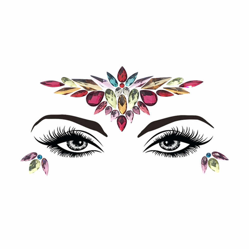 ... Adhesive Face Gems Rhinestone Temporary Tattoo Jewels Festival Party  Body Glitter Flash Temporary Tattoos Stickers Makeup ... 58092860afa5