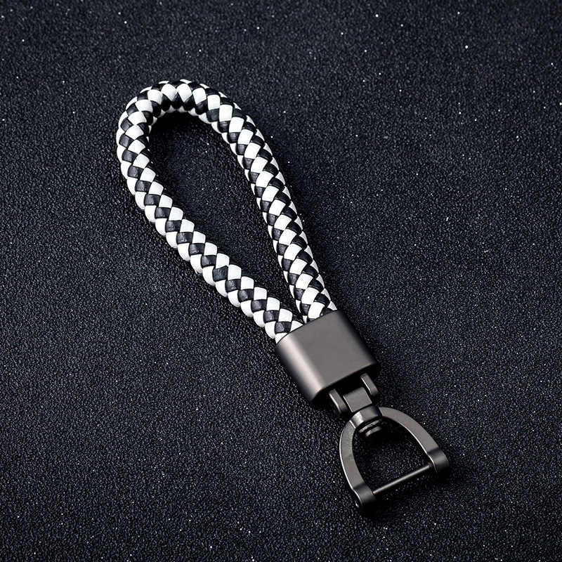 Moda Unissex Trançado Corda De Couro Handmade Waven Keychain Corda De Pulso Titular do Anel Chave de Cadeia para Mulheres Dos Homens Chaveiro Carro Chaveiro