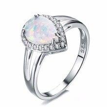 Чистый стерлингового серебра 925 AAA кристалл ювелирные обручальные кольца Белый огненный опал сердце женские/женские кольца на день рождения подарки