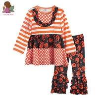 Yeni Stil Bebek Kız Giysileri Turuncu Çizgili Dekorasyon Yuvarlak Boyun Üst Kafatası pantolon Cadılar Bayramı Çocuk Butik Kıyafet H023