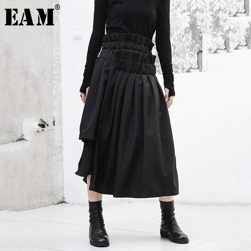 [EAM] 2018 Новый осень-зима высокий эластичный пояс черный нерегулярные подол оборками Разделение совместное половина тела юбка Для женщин мод...