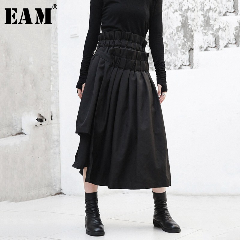 [EAM] 2019 новая весенняя высокая эластичная талия черный нерегулярный подол оборки Сплит Совместное полутело юбка женская мода прилив JI083