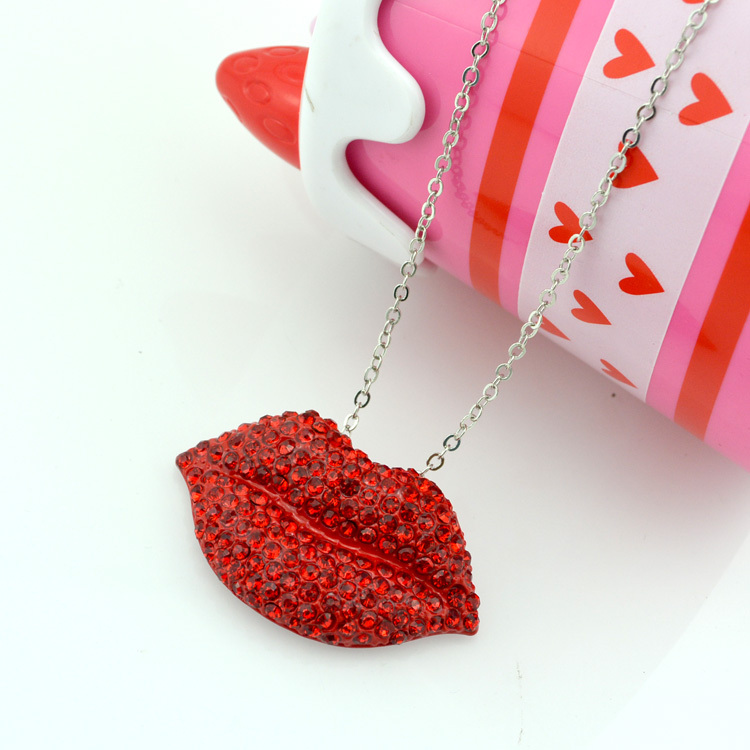 High quality 2016 fashion jewelry mouth necklace unique red lip woman Chunky choker collar Necklaces & pendants spring summer